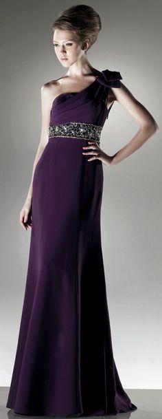 Modern One shoulder A-line chiffon dress,$150.80