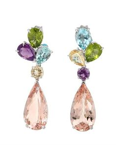 Amethysts, Aquamarines, Beryls, Morganites and Peridots in Wite Gold, by CHRISTIAN DIOR.