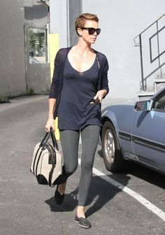 Charlize Theron Leggings - Charlize Theron rocked leggings as pants while running errands.