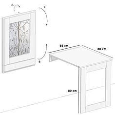 """Eleganter Klapptisch """"Karina"""" - Wandtisch - Küchentisch - Esstisch 80x66cm - wird zu einem Bilderrahmen an der Wand"""