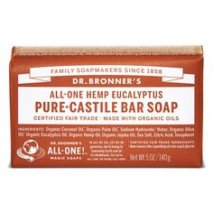Earthy and warm, Dr. Bronner's Eucalyptus Organic Bar Soap is scented purely with organic eucalyptus oil for a powerful menthol burst to clear congestion and focus the mind. All-One!