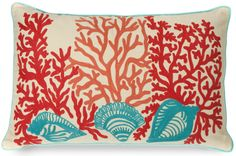 Pretty coral pink, orange and aqua embroidery create a coral and sea shell inspired pattern!