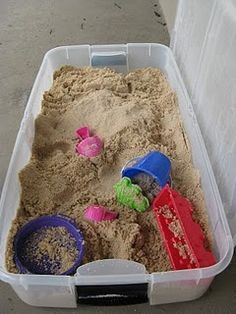DIY sandbox...seriously how did I not think of this years ago? I could even do it this winter in the garage, just cover it up when we are done! Cleaner, safer and hours of fun! This is totally on my to do list this weekend!