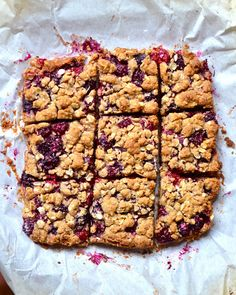 Chewy Blackberry Oat Bars {No butter, gluten, or white sugar!}