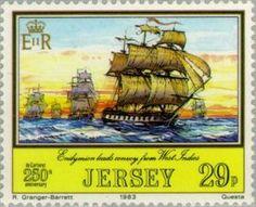 Sello: Ships (Jersey) (Ships) Mi:JE 298,Sn:JE 305,Yt:JE 292,AFA:JE 288