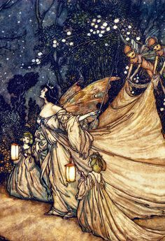 ≍ Nature's Fairy Nymphs ≍ magical elves, sprites, pixies and winged woodland faeries - The Meeting of Oberon and Titania - 1905 - by Arthur Rackham