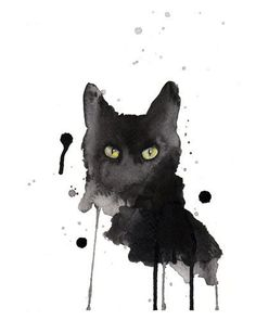 Black cat watercolor print 8x10 archival giclee by artillia