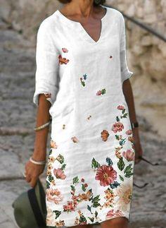 Linen Dresses, Casual Dresses, Fashion Dresses, Vintage Style Dresses, Dress Up Wardrobe, Vestido Casual, Tunic Pattern, Latest Fashion For Women, Fashion Online