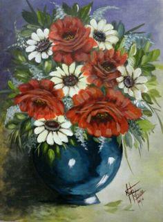 Rosas vermelhas e margaridas.  #pintura acrílica sobre #papel #euamopintar www.facebook.com/atelietonsdevida