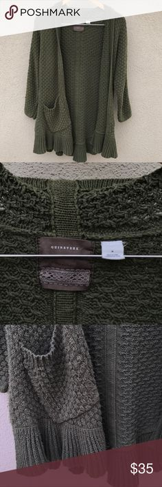 ✨ Anthropologie Guinevere Knit Sweater Cardigan ✨ Anthropologie Cardigan by brand Guinevere. In a size medium and fits true to size! Olive/ army green in color. Ruffle hem detail with two side pockets! Questions? Don't like the price? Offer away! Happy Poshing! :) Anthropologie Sweaters Cardigans