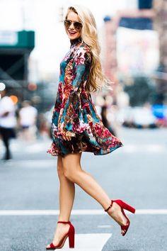 Lovely Teal Floral Print Dress - Long Sleeve Dress - Swing Dress - $56.00
