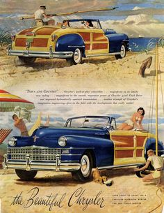 """1947 Chrysler Town and Country Convertible Ad """"Town and Country, Chrysler's work/play convertible"""" Auto Retro, Retro Cars, Bugatti Veyron, Dodge, Pub Vintage, Michigan, Chrysler Town And Country, Chrysler Imperial, Roadster"""