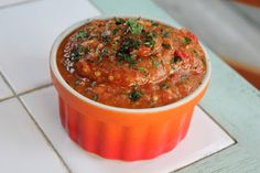 Eggplant, Red Pepper, & Roasted Garlic Dip ~ Stuff I Make My Husband