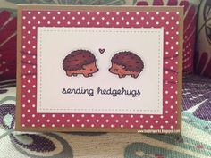 """Sending Hedgehugs"" Card made using Lawn Fawn Hedgehugs stamps and small stitched rectangles stackables dies. Also Pretty Pink Posh stitched duo 2 die."