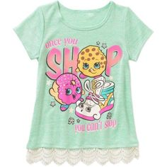 Shopkins Girls' Once You Shop Short Sleeve Scoop Neck Top with Crochet Hem, Size: 4/5, Green