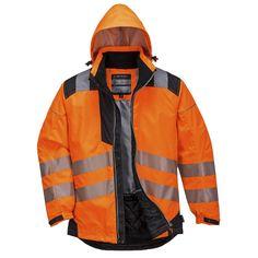 Chaqueta de lluvia Vision de alta visibilidad Naranja/Negra.