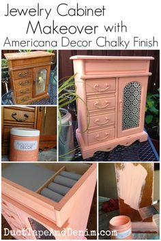 Jewelry cabinet makeover with Americana Chalky Finish paint  | DuctTapeAndDenim.com #decoartprojects
