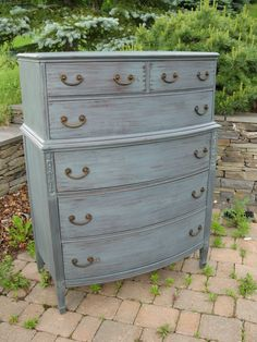 Chic and Shabby Steel Blue Grey Tall Dresser by VintageRebornLaura, $550.00