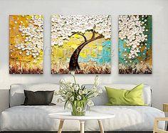 3 pieza mano pintado pintura al óleo lienzo espátula 3D flor arte murales para el salón decoración para el hogar cuadros decoracion 3