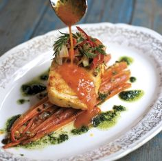 Carrot Butter–Poached Halibut with Anchovy-Roasted Carrots and Fennel