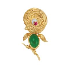 Gold, Green Onyx, Diamond and Ruby Bird Clip-Brooch, Van Cleef & Arpels