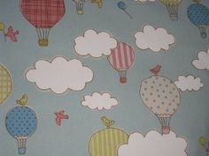 Hot Air Balloons - Blue - Half Yard - Japanese Fabric