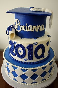Graduation Cake but in pink! With roses in place of paw prints! Last layer white with pink polka dots.