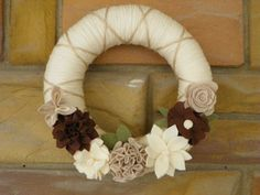 Offwhite Yarn wreath with green taupe and by redbrickbungalow, $30.00