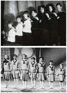 The Real Von Trapp children: (L-R) Martina, Johanna, Hedwig, Werner, Maria, Agathe, Rupert, and the cinematic Von Trapp children: (L-R) Liesl, Friedrich, Louisa, Kurt, Brigitta, Marta, Gretl