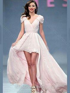 A-line V-neck Chiffon Asymmetrical Pleats Prom Dresses #02017249