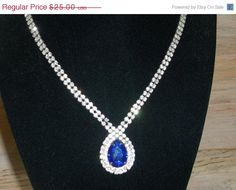 25% Off Vintage Necklace Blue and Clear Rhinestones Glam Wedding Jewellry Bridal Party Jewelry Special Occasion Gift for Her #vintageaccessories #giftforher