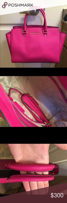 Large Michael Kors selma, fuschia Excellent condition! Used but only flaws are on hardware (scratches) and it's really just on the feet of the bag. Comes with crossbody strap. Gold hardware. Michael Kors Bags Totes