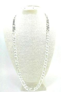 """mens 11mm Figaro Chain necklace 30"""" 925 sterling silver (stamped 925) #Unbranded #Figaro Heart Pendant Necklace, Cross Pendant, Hip Hop Chains, Chain Necklaces, Silver Man, Men's Jewelry, Gold Chains, Diamond Cuts, Bling"""