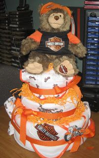 MN Diaper Cakes Harley Davidson 3 Tier Cake  SOLD