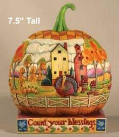 """Jim Shore Pumpkin """"Count Your Blessings"""" 118757 Retired New in Box 