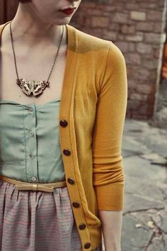 Really adorable cardigan--never would have paired mustard and mint.