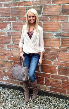 Look trendy for fall with our NEW cream drape front chiffon top . Perfectly accessorize your outfit with a statement necklace and studded handbag . Now available at Hoity Toity