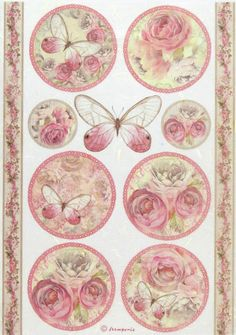 """Rice Paper for Decoupage, Scrapbook Sheet, Craft Paper """"Shabby Rose, Butterfly"""""""