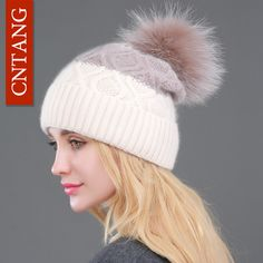 2016 Winter Hat Natural Raccoon Fur Pompon Beanies Women Warm Knitted Rabbit Fur Patchwork Cute Hats Female Fashion Wool Caps