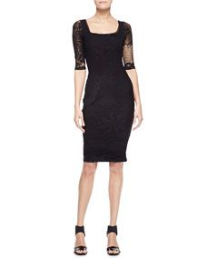 3/4-Sleeve Square Neck Dress, Black Jean Paul Gaultier