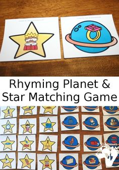 Free Easy to Play Rhyming Planet and Star Matching Game - 4 pages of printables - 3Dinosaurs.com