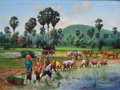 Md shohag hossain: You can see that a cat is sitting on a tree and this tree is [& Watercolor Landscape, Landscape Art, Landscape Paintings, Watercolor Paintings, Village Scene Drawing, Art Village, Farmer Painting, Composition Painting, Philippine Art