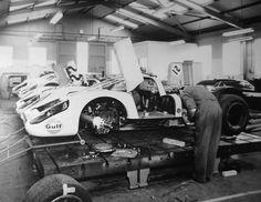 Team Gulf Wyer Porsche garage. Le Mans 1970.
