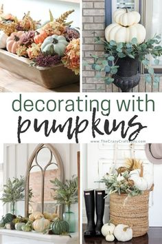 Beautiful and inspiring ideas for decorating with pumpkins #falldecor Pumpkin Crafts, Fall Crafts, Diy And Crafts, Fall Home Decor, Autumn Home, Pumpkin Decorating, Holiday Decorating, Dollar Store Crafts, My Favorite Image