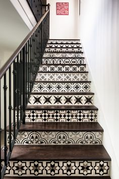Cement Tiles in Southern California - Granada Tile has been featured in projects all over the world. Check out some of our cement tiles in Los Angeles. Browse our tiles today! Tiled Staircase, Tile Stairs, Staircase Design, Wood Stairs, Staircases, Flooring For Stairs, Wood Tile Floors, Concrete Tiles, Black Tile Flooring