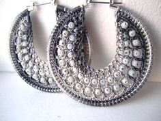 Crocheted Hoops - this is not a pattern. These earrings are for sale. I pinned for inspiration only.