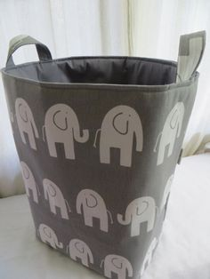Storage bin Laundry Hamper Toy Basket for the Nursery Elephant 12 x 10 x 18  Choose your colors  cute