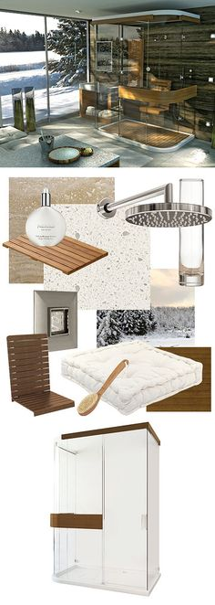 Scandinavian Style - Exposé Teak Shower (Pure simplicity and tidiness yet highly functional - Clean lines in architecture with high ceilings and open interiors - Strong natural lighting - Timber-based, sleek-lined furniture - Predominantly cool grays and blues or muted earth tones - Opt for ceramic tiled floors, glass-walled showers and spa-quality saunas).