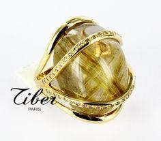 rutiled quartz 36ct, brown diamonds, 18ct yellow gold. Bijoux Tiber, Paris, France.