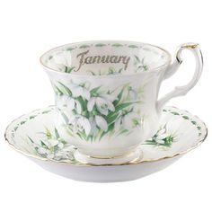 January Snowdrops ~ Royal Albert Flower of the Month Teacup and Saucer